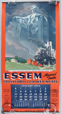 1943 Essem Cooked Meats Complete 12-Month WWII Rare Norman Rockwell Calendar NR