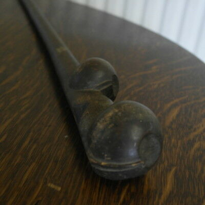 antique african double ball top carved wood CLUB  stamped 1959  1055