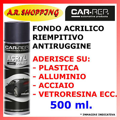 Fondo Riempitivo Spray Nero Antiruggine Stucco Carrozzeria Auto Moto Acrilico