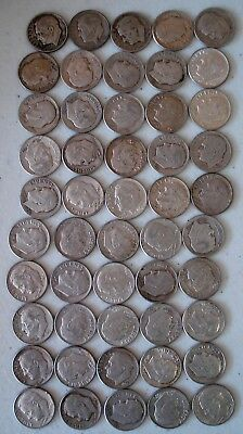 50  Unsearched Roosevelt Dimes - Coin Dates Vary - Coin Conditions Vary - Lot 3