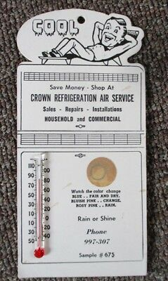 Vintage CROWN REFRIGERATION SERVICE Die Cut THERMOMETER SIGN...NICE!