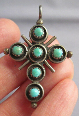 3D Vintage Old Pawn Sterling 2 In 1 Double Sided Coral Turquoise Cross Pendant