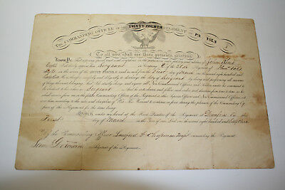 3 Doc Civil War Soldier Gp - John Read 28th Pa Inf Commission Discharge Pension