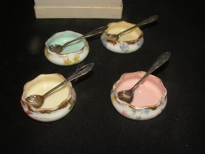 2 Pairs - Belleek Salt & Pepper Cellars W/ Sterling Spoons