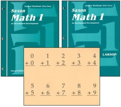 Saxon Math 1 Student Workbooks & Fact Cards Set Homeschool 1st Edition 1st Grade