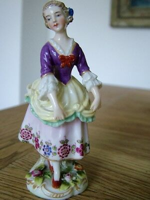 Vintage Continental Naples Capodimonte Porcelain Figurine Maiden Young Girl Nr