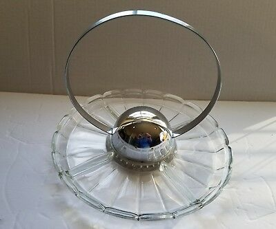 Vtg Chrome Cocktail Ball Sphere Hors d'oeuvre Machine Age Art Deco Glass Tray