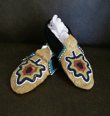 Antique Beaded Delaware Moccasins Pair Authentic