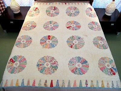 """Small, Heavy Feed Sack Cotton Hand Sewn DRESDEN PLATE Applique Quilt, 71"""" x 71"""""""