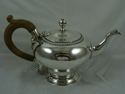 QUALITY GEORGE II style solid silver TEA POT, 1906, 514gm