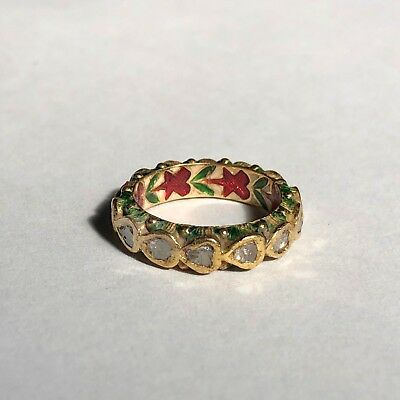 Diamond Rare Antique 19th Century Kundan Gold India Ring Eternity Enamel