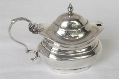 A Fine Solid Sterling Silver Mustard Pot With Glass Liner Birmingham 1955.