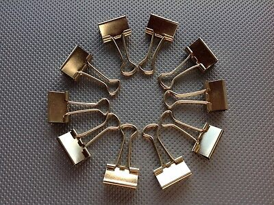 10x Foldback Klammern 19mm, Binder Clips METALLIC GOLD
