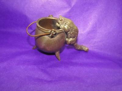 Unusual Antique/Vintage Cat Cauldron Bronze Brass Match Striker