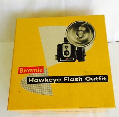 Kodak Brownie Hawkeye Flash Model Outfit Camera W/Bulb Film Original Box Vtg tha