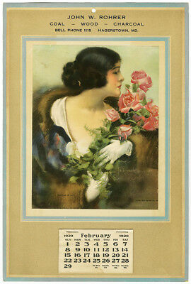 Vintage Art Deco 1920 Rare Advertising Rolf Armstrong Gloved Pin Up Calendar NR!