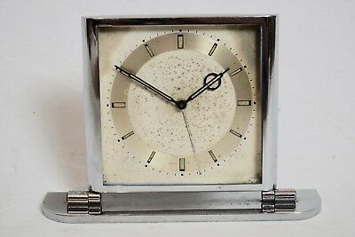 VINTAGE 1930s ART DECO CHROME PLATED ALARM/ MANTEL CLOCK