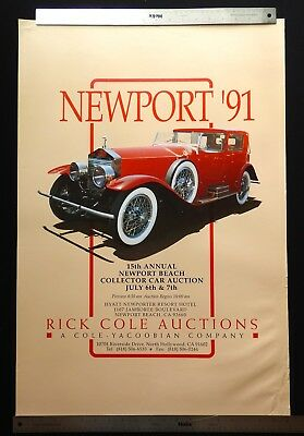 Rick Cole Newport Beach California 1991 Auction Poster ROLLS-ROYCE