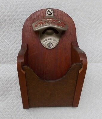 Vintage Coca Cola Starr X Bottle Opener Wall Mount Wooden Cap Catcher