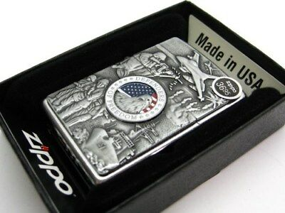 Zippo Street Chrome Defenders Of Freedom Emblem Classic Windproof Lighter 24457