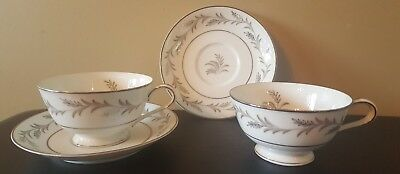 EUG! Noritake Glendon 2 Footed Cups With 2 Saucers Platinum and White Wheat