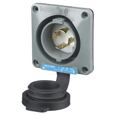 Hubbell HBL2725SW Flanged Inlet Watertight 30A 250V 3 Phase 3 Pole L15-30P *New*
