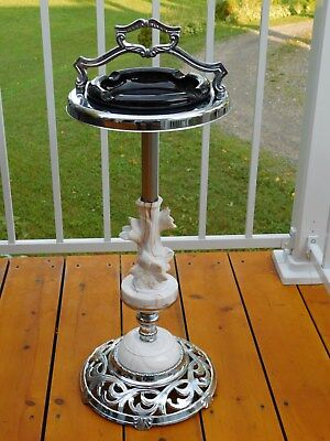 Vintage 1950's Mid Century Art Deco Ashtray Smoking Stand Chrome Slag Glass Nice