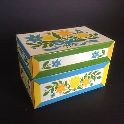 Vintage Metal Recipe Box 1970's Floral Tulips Daisies Syndicate MFG USA Cute!