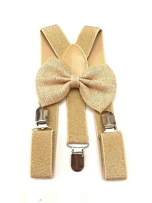 Suspender and Bow Tie gold Baby Toddler Kids Boys Girls Child SETS USA seller 3