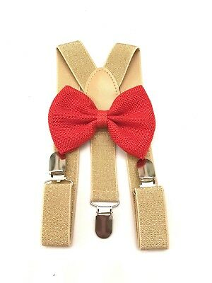 Suspender and Bow Tie gold Baby Toddler Kids Boys Girls Child SETS USA seller 4