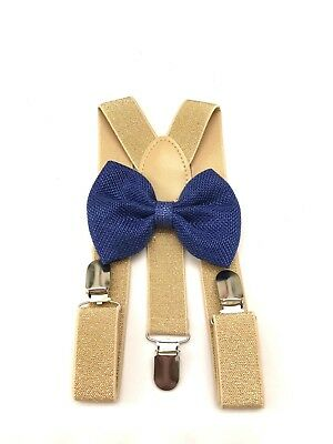 Suspender and Bow Tie gold Baby Toddler Kids Boys Girls Child SETS USA seller 5