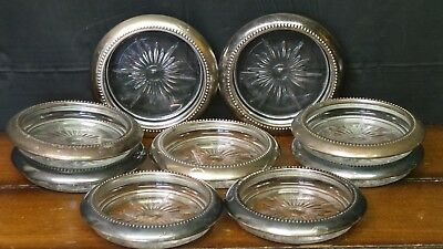 Lot of 9 Antique Wes Blackinton Silver Plated Crystal Drink Coasters