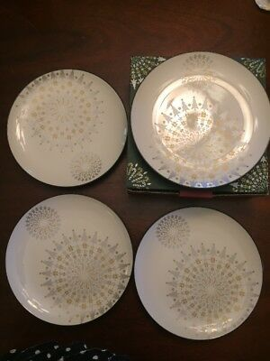 Noritake color wave collection four 8 1/4 holiday plates graphite
