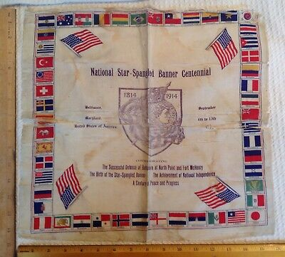 Centennial Of The Star Spangled Banner Original Historical Souvenir Scarf 1914