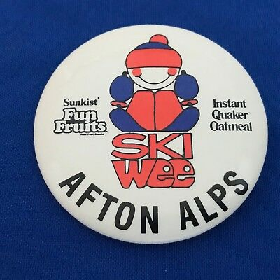 AFTON ALPS SKI WEE Pinback Button Sunkist Fun Fruits Instant Quaker Oatmeal