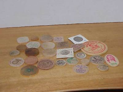 27 Vintage Wooden Tokens Assorted Sizes & Shapes Free Ship