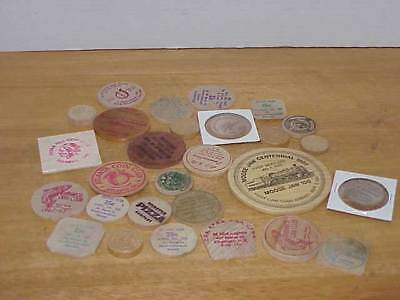 28 Vintage Wooden Tokens Assorted Sizes & Shapes Free Ship