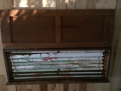 8 Vintage Pull Down School Maps with Oak Case Early 1900's. World Series Of Maps