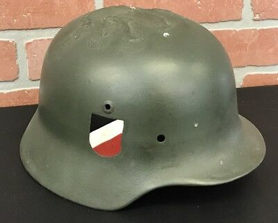 Vintage Antique WWII WW2 German Helmet Painted National Colors Eagle Army Green