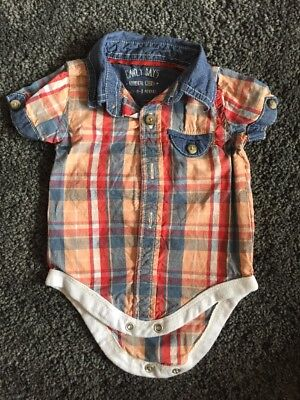 Boys Checked Shirt Vest 0-3 Months Baby Boys