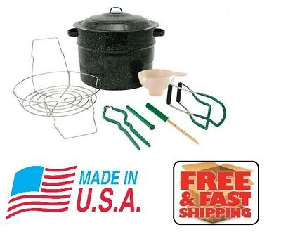 NEW 8 Piece 21.5 qt Water Bath Canner Set Complete Home Canning Tool Starter Kit