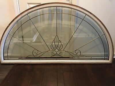 Vintage Arched Beveled Glass Window LARGE In Frame MUST SEE