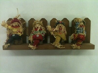 Fall / Autumn Wall Hanging Wood Picket Fence With Four Sitting Scarecrows