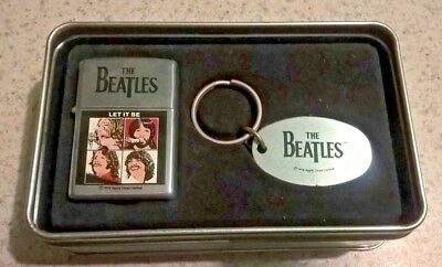 1996 Beatles Let It Be Zippo lighter and keychain New in tin never used