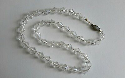 "Vintage Clear Crystal Glass Necklace 17"" Long"