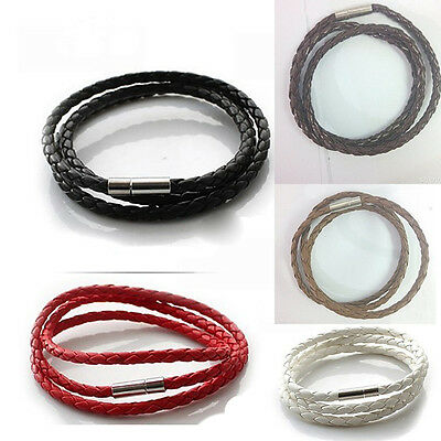 Hot Stainless Steel  Braided Genuine Leather Cord Necklace/Bracelet QY