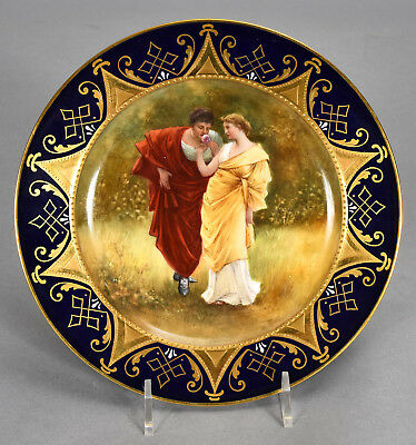Antique Royal Vienna Hand Painted Plate - Classical Lovers Rose signed W. PFOHL