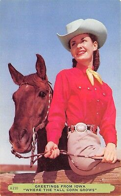 Iowa~Cowgirl~Her Brown Horse~Greetings From Where Tall Corn Grows~Rembrant 1940s