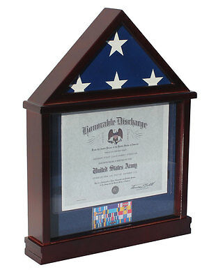 Defect-Flag Display Case Military Shadow box for 3'X5' U.S. Flag, Hardwood