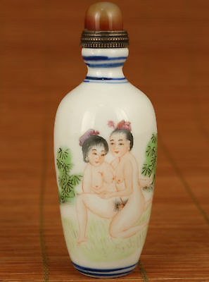 Rare chinese Old porcelain hand painting great belle figure statue snuff bottle